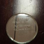 "Small Etched Round Mirror.  Saying is ""When II count My Blessings I count you twice"".  Measures approximately 3"" in diameter.  Pre-owned & in excellent condition.  $10.00 obo"