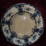 "Antique William A. Adderley (WAA), England Flow Blue China Bowl.  Malta pattern, shallow bowl w/raised scrolls along scalloped gold rim.  Measures 9 1/2"" in diameter x 1"" deep.  Believe to be from late 1800's.  Pre-owned & in good condition, small ship on back & crackling throughout.  $25.00 obo"