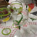 Hand Painted Wine Glasses.  We have 5.  Beautiful.  Pre-owned & in excellent condition.  $10.00 each obo