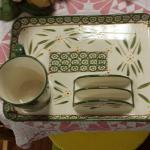 Temptations Presentable Ovenware by Tara.  Old World Ceramic Tray and Cup Set.  2 Sets available.  Cup is 10 oz and Tray measures 12 x 9.  Pre-owned & in excellent condition.  $15.00 each set obo