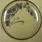 "25th Anniversary Silver Painted Glass Plate.  Measures 12"" in diameter.  Pre-owned & in great condition.  $22.00 obo"