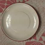 "Bella Casa by Ganz White Plate.  Has red trim.  Measure 6"" in diameter.  Pre-owned & in excellent condition.  $4.00 obo"