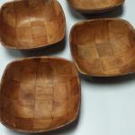 Vintage Small Square Wood Bowls.  Four available.  Pre-owned & in excellent condition.  $2.00 each obo