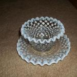Vintage Hobnail Sugar Dish & Saucer.  Ruffled edges with moonstone white trim.  Pre-owned & in excellent condition.  $10.00 obo for set.
