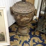 "Outdoor Resin Urn with Lid.  This is made by Expo Inc.  Measures 9"" round x 18"" high.  Pre-owned & in excellent condition.  $50.00 obo"