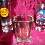"Shot Glasses-Lot of 3 from Various Establishments.  Hard Rock Cafe-Chicago. Measures 4"" h $7.50 obo.  Brat Stop, I-94 & Hwy 50 Kenosha, WI.  Measures 3"" h.  $5.00 obo.  Planet Hollywood-Chicago.  Measure 3"" h.  $6.50 obo.  Pre-owned & in excellent condition.  Sold individually or Lot of 3-$15.00 obo"