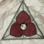 "Antique Triangle with Hearts Stained Glass.  Gorgeous piece.  Measures 14"".  Pre-owned & in excellent condition.  $75.00 obo"