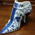 Vintage Authentic Delft Porcelain Shoe.  Made by Williamburg Restoration.  Signed on bottom IS 1729.  Pre-owned & in excellent condition.  $25.00 obo