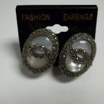 Vintage Sterling Silver, Merkizite, & Mother of Pearl Clip-on Earrings.  Gorgeous.  Pre-owned & in excellent condition.  $45.00 obo