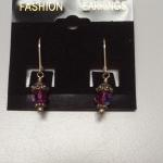 Sterling Silver with Small Purple Beaded Dangle Earrings.  Very Petite.  Pre-owned & in excellent condition.  $18.00 obo