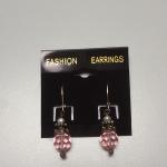 Sterling Silver Dangle Earrings with Pink Bead and Pearl.  Gorgeous.  Pre-owned & in excellent condition.  $32.00 obo