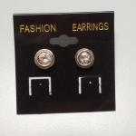 Sterling Silver with large Cubic Zirconia Post Earrings.  Great item.  Pre-owned & in excellent condition.  $25.00