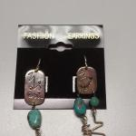 Sterling Silver Square Disc with Turquoise Dangle Earrings.  Great item and very unique.  Pre-owned & in excellent condition.  $27.00 obo