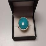 Sterling Silver with Oval Turquoise Ring.  Beautiful.  Size 10.5.  Pre-owned & in excellent condition.  $58.00 obo
