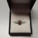 Small Sterling Silver with Tiger Eye Ring.  Very Petite.  Size 3.25.  Great