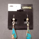 Sterling Silver Turquoise Tear Drop Dangle Pierced Earrings.  Gorgeous.  Pre-owned & in excellent condition.  $36.00 obo