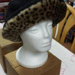 Vintage Black Hat with Leopard Trim.  Adorable Hat.  No size marked.  Pre-owned & in excellent condition.  $20.00 obo