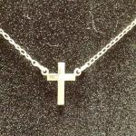 "Sterling Silver Chain with Cross & Cubic Zirconia in Center.  Beautiful piece.  Measures 16"" long.  Pre-owned & in excellent condition.  $16.00 obo"