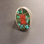 Large Sterling Silver with Coral & Turquoise Inlay Ring.  Beautiful and solid.  Size 8.5.  Pre-owned & in excellent condition.  $99.00