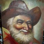 "Old Cowboy Portrait Painting.  On canvas & ready for framing.  Signed by P. Robins.  Measure 12"" l x 16""h.  Pre-owned & in good condition, a few wear marks on edge.  $20.00 obo"
