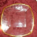 "Square Glass Charger with Gold Leaf Trim.  Measures 10 3/4"" X 10 3/4"".  Pre-owned & in excellent condition.  $20.00 obo"
