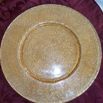 "Round Glass Charger w/Gold & Silver Bubble Pattern.  Measures 13 1/2"" in diameter.  Pre-owned & in excellent condition.  $30.00 obo"