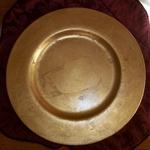 "Italian Gold Leaf Round Centerpiece.  Measures 13 1/2"" in diameter.  Signed on back ""Made in Italy Elleci S.R.I.""  Not microwave or oven safe.  Pre-owned & in excellent condition.  $50.00 obo"