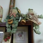"Cloth Frog Shelf Sitters.  The Mama & Papa Frog are a great addition to any décor and come equipped with fishing items.  Each measures approximately 12"" in height.  Pre-owned & in excellent condition.  $12.00 each obo"