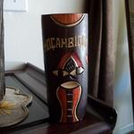 "Mocambique Hand Carved/Painted Wood Vase.  Great carved detail.  Measures 6""h x 2.5"" in diameter.  Pre-owned & in excellent condition.  $10.00 obo"