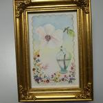 "Framed Artwork ""Magnolia"" by Aliana Learsey.  Hand drawn with a gold frame.  Measures 5.25"" x 7.50"".  Pre-owned & in excellent condition.  $15.00 obo"
