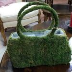 "Moss Purse.  Adorable and has a plastic liner inside.  Great indoor or outdoor piece.  Measures 12"".  Pre-owned & in excellent condition.  $15.00 obo"