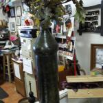 "India Tall Hammered Green Vase.  Gorgeous and metal.  Measures 21"" high.  Pre-owned & in excellent condition.  $20.00 obo"