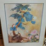 "Asian Watercolor by Lili Gaydos.  This is artwork of a Peacock in beautiful watercolors.  Measures 22"" x 28"".  Pre-owned & in excellent condition.  $15.00 obo"