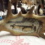 "Resin Moose Antler with Wolves.  Measures 16""w x 11""h.  Pre-owned & in excellent condition.  $35.00 obo"