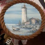 "Oil Painting with Resin Rope Frame.  Beautiful.  Measures 19"" in diameter.  Pre-owned & in excellent condition.  $150.00 obo"