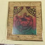 "Asian Print Framed Art with Bark Matte.  Measures 11"" x 13"".  Pre-owned & in excellent condition.  $18.00 obo"