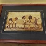 "Wood Inlaid Elephant Framed Artwork.  Gorgeous piece.  Measures 22"" x 18"".  Pre-owned & in excellent condition.  $48.00 obo"