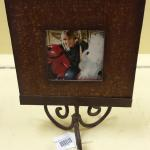 Wood Picture Frame on Metal Stand.  Very decorative piece.  Pre-owned & in excellent condition.  $12.00 obo