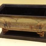 "Decorative Wood Pedestal Box.  Great artwork on front.  Measures 12"" x 6.5"".  Pre-owned & in excellent condition.  $20.00 obo"