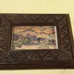 Two's Company Small Wood Framed Picture.  Carved Frame.  Pre-owned & in excellent condition.  $13.00 obo
