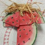 Hand Painted & Decorated Watermelon Wall  Plaque.  Adorable.  Pre-owned & in excellent condition.  $15.00 obo