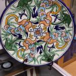 "Round Ceramic Charger by D. Coydoro L.  Gorgeous piece.  Measures 15"".  Pre-owned & in excellent condition.  $55.00 obo"