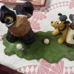 Resin Bear and Dog Golfing.  Adorable Piece.  Pre-owned & in good condition, has a crack.  $15.00 obo