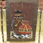 Handmade & Painted Indian Picture.  Measures 16.5 x 23.  Pre-owned & in great condition, twine on bottom is broke.  $40.00 obo