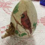 Hand Painted Wood Egg Birdhouse Decoration.  Adorable.  Pre-owned & in excellent condition.  $15.00 obo