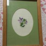 "Cross Stitch Flower Framed Art.  Beautiful.  Measures 6"" x 8"".  Pre-owned & in excellent condition.  $15.00 obo"