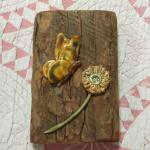 "Vintage Barnwood with Ceramic Butterfly & Flower Wall Art.  Precious piece.  Measures 4"" x 6"".  Pre-owned & in excellent condition.  $15.00 obo"