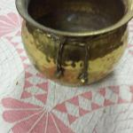 "Round Brass Pot with Braded Brass Bow.  Measures 5.5"".  Pre-owned & in excellent condition.  $15.00 obo"
