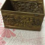 "Rectangular Brass Pot.  Great design around.  Measures 6"" x 4"".  Pre-owned & in great condition.  $15.00 obo"