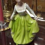 Vintage porcelain lady in green figurine.  Beautiful.  Pre-owned & in excellent condition.  $15.00 obo